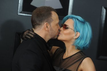 Donnie Wahlberg and Jenny McCarthy arrive at 60th Annual Grammy Awards in New York