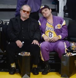 Jack and Raymond Nicholson attend Kobe Bryant's final game as a Laker in Los Angeles