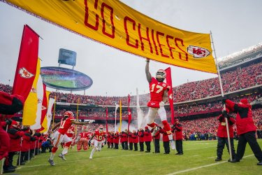 Chiefs Mecole Hardman taps the flag in the AFC Divisional Playoff
