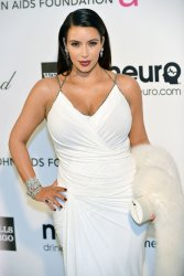 Kim Kardashian attends the Elton John AIDS Foundation Oscar viewing party