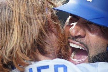 Los Angeles Dodgers Albert Pujols Celebrates Hitting Solo Home Run