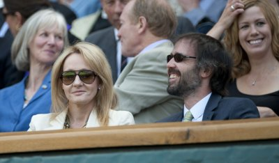 JK Rowling and her husband in the Royal box on the second day at Wimbledon Tennis Championships