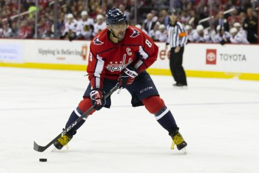 Washington Capitals left wing Alex Ovechkin shoots
