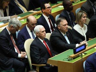 Vice President Mike Pence, Secretary of Treasury Steven Mnuchin and Secretary of State Michael Pompeo at UN GA