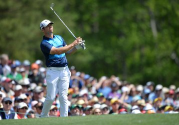 Paul Casey of England hits a tee shot  at the Masters