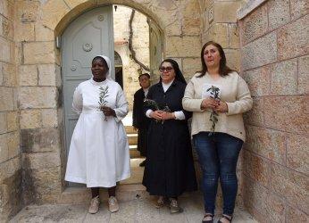 Catholic Nuns Hold Olive Branches On Palm Sunday