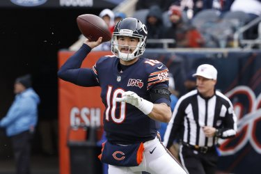 Chicago Bears quarterback Mitchell Trubisky looks to pass the ball in Chicago
