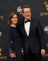 Robin Dearden and Bryan Cranston attend the 68th Primetime Emmy Awards in Los Angeles