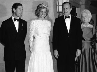Prince Charles, Princess Diana, George and Barbara Bush meet for dinner at the British Embassy