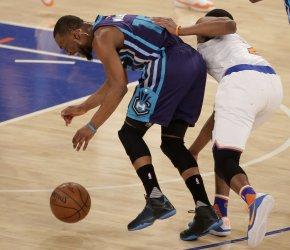 New York Knicks Galloway fouls Charlotte Hornets Walker at Madison Square Garden