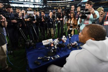 Clemson defensive lineman Dexter Lawrence answers questions during Media Day the Cotton Bowl