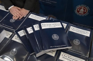 President Trumps Budget for FY2018 are distributed on Capitol Hill