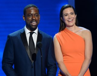 Sterling K. Brown and Mandy Moore appear onstage at NAACP Image Awards in Pasadena
