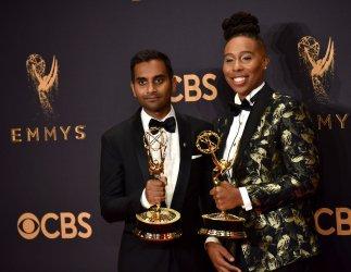 Aziz Ansari and Lena Waithe win awards at the 69th Primetime Emmy Awards in Los Angeles