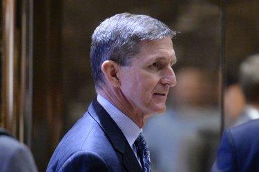Lt. Gen. Michael Flynn is seen in Trump Tower Lobby