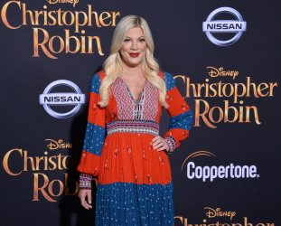 "Tori Spelling attends the ""Christopher Robin"" premiere in Burbank, California"