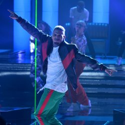 Chris Brown performs at the BET Awards in Los Angeles