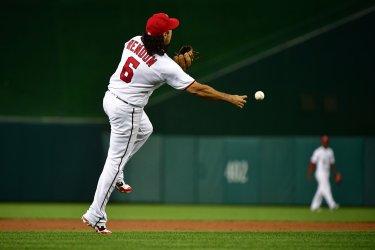 Nationals third baseman Anthony Rendon fields a ball