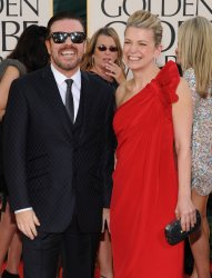 Ricky Gervais and Jane Fallon arrive at the 68th annual Golden Globe Awards in Beverly Hills, California