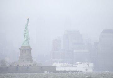 The USNS Comfort Navy departs New York City