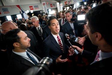 Julian Castro speaks to the media at the CNN Democratic Debate in Detroit