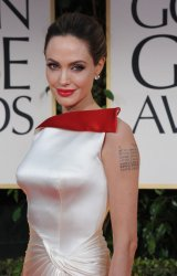 Angelina Jolie arrives at the 69th annual Golden Globe Awards in Beverly Hills, California