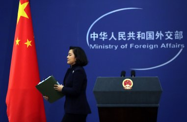 China's Foreign Ministry ends a press conference in Beijing