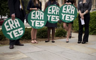 Congressional members hold a rally marking the 40th anniversary of Equal Rights Amendment (ERA) in Washington