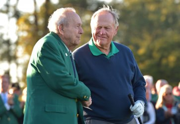 Honorary starters Jack Nicklaus and Arnold Palmer at the Masters