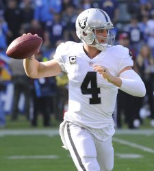 Raiders quarterback Derek Carr looks to throw the ball against the Chargers in Carson, California