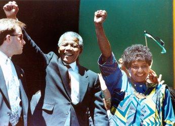 Nelson and Winnie Mandela at Oakland Coliseum