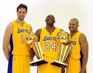 Pau Gasol, Kobe Bryant and Derek Fisher participate in Lakers media day at El Segundo, California