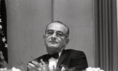 President Lyndon Baines Johnson speaks at a 1964 Democratic Party fundraiser in Chicago, IL