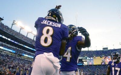 Ravens QB Lamar Jackson celebrates TD during NFL preseason game