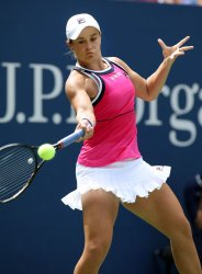 Ashleigh Barty hits a forehand at the US Open