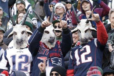 Patriots Tom Brady number 12 jersey and goat masks