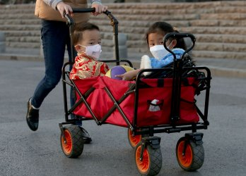 Chinese still wear protective face masks in Beijing, China
