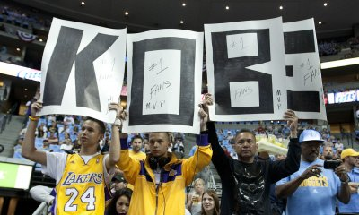 Fans Show Support for Lakers Bryant During the NBA Western Conference Playoffs First Round Game Three in Denver