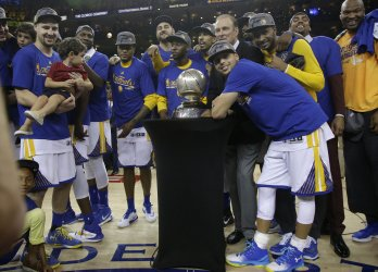 Warriors celebrate with Western Conference trophy