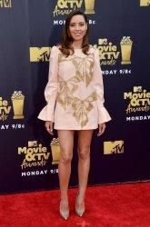 Aubrey Plaza attends the 2018 MTV Movie & TV Awards in Santa Monica, California