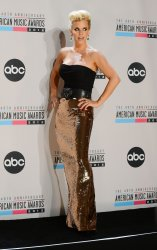 Jenny McCarthy appears backstage at the 40th anniversary American Music Awards in Los Angeles