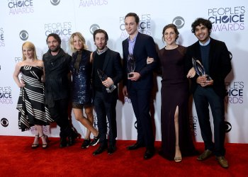 Melissa Rauch, Johnny Galecki, Kaley Cuoco, Simon Helberg, Jim Parsons, Mayim Bialik and Kunal Nayyar garners award at the 42nd annual People's Choice Awards in Los Angeles