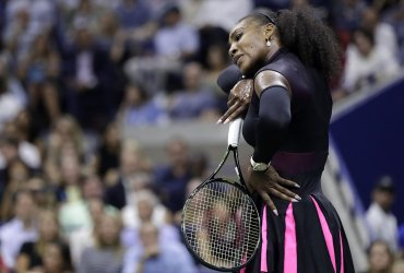 Serena Williams of the United States reacts at the US Open