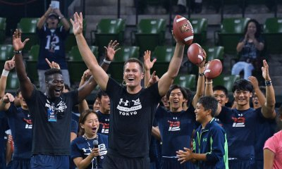 Patriots Tom Brady Promotes at an American Football Clinic in Tokyo