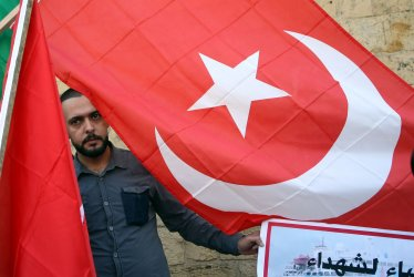 Palestinians rally in Support of Turkey's Military Action in Northeastern Syria