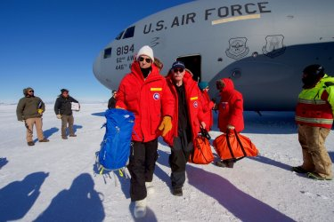 Secretary Kerry Walks Away From a U.S. Air Force C-17 Cargo Plan at the Pegasus Ice Field in Antartica