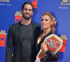 Seth Rollins and Becky Lynch attend the MTV Movie & TV Awards in Santa Monica, California