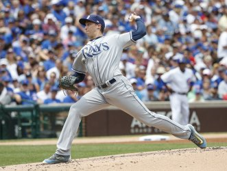 Rays pitcher Blake Snell delivers against the Cubs in Chicago