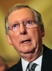 Sen. Mitch McConnell speaks following the weekly party luncheons in Washington