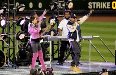 Jay Z and Alicia Keys perform at New York Yankees Philadelphia Phillies game 2 of the World Series at Yankee Stadium in New York